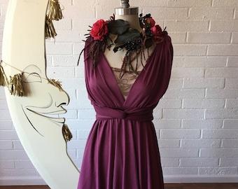 Sea Gypsy Berry ShortCircle skirt Octopus Infinity Convertible Wrap Dress~ Bridesmaids, Wedding, Bohemian
