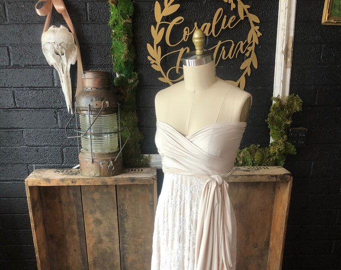 """Ready to Ship- Standard, 50"""" Length ~ Ivory with Off White Lace Infinity Wrap Dress- Wedding Gown, Bridesmaids, Maternity, Etc."""