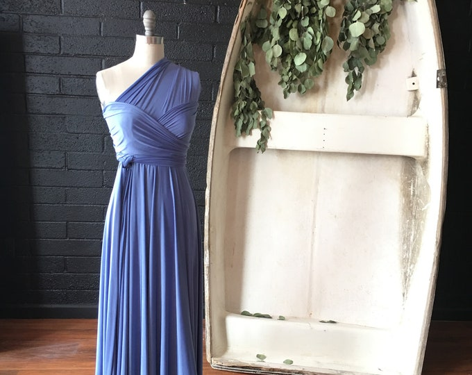 English Channel Slate Blue- Coralie Beatrix Long Octopus Infinity Convertible Wrap Gown Dress~ Bridesmaids, weddings. etc.