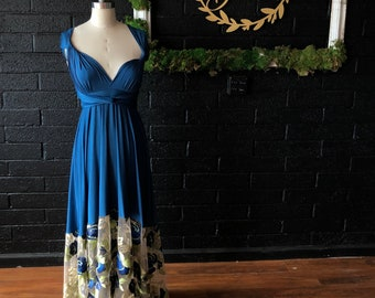 Floral Embroidered Bella Luna Infinity Wrap Dress- Tea and Sapphire with Gold Leaf and Bahia Tortuga Blue~ Customize color, size, length!