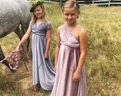 Girl's Velvet Long Infinity Wrap Dress- Burgundy Velvet, Muted Mauve or Choose your Fabric Color- Bridesmaid-Party-Flower Girl