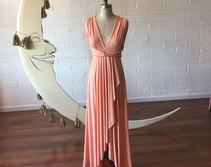 """Ready Made- Standard 52"""" Long- Lost Coast Peach TULIP HEM CUT Long Octopus Convertible Wrap Gown- Converts to Strapless, Backless, Grecian!"""