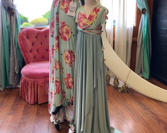 """Ready Made- Girls 38"""" Long Floral two- toned Tulip Cut Infinity Twirl Dress~  Mint Floral with Song of Sagebrush Skirt"""