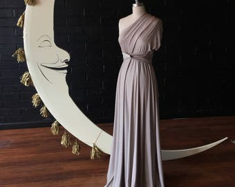 Oyster Shimmer Champagne- Octopus Convertible Infinity Wrap Dress. Bridesmaids, Wedding, Prom. Choose size, length, hem cut