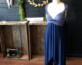 Ready Made~ Two Toned, High/Low Standard Gray and Navy- Long Octopus Infinity Convertible Wrap Gown
