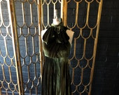 """Ready Made- standard, 46"""" Long- Coralie Beatrix Vintage Olive Velvet Long Octopus Infinity Convertible Wrap Gown Dress"""