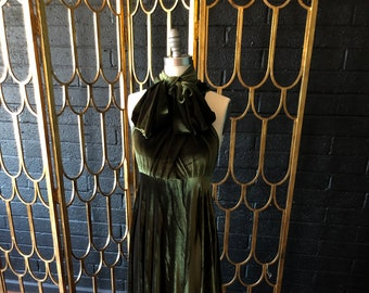 "Ready Made- standard, 46"" Long- Coralie Beatrix Vintage Olive Velvet Long Octopus Infinity Convertible Wrap Gown Dress"