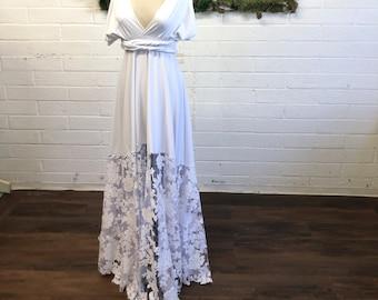 Bella Luna~White Floral Sequin Octopus Infinity Wrap Dress No Train ~ 1920s Garden Wedding, Elopement Bride