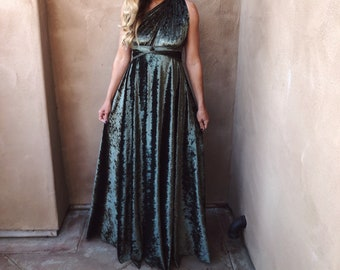 Crushed Olive Stretch Velvet Long Infinity Wrap Gown~ Custom choose Color, size, and length- Bridesmaids, wedding guest, Cocktail, Maternity