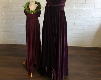 "Ready Made- 40"" L Girls Long Big Sur Burgundy Tulip Cut Infinity Twirl Dress~  Child's Flower girl dress"