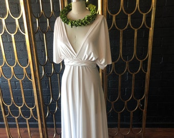 Almond Champagne Velvet Bridal-  Last of Fabric- Infinity Wrap Gown Dress~ Elopement, Bohemian, Budget Bride