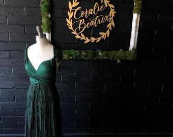 "Ready Made~ Petite sz., 50""Long Lace w/ Short Slip~ Daydreamer Hunter with Forest Green Lace Infinity Wrap Dress- Holiday, Wedding"