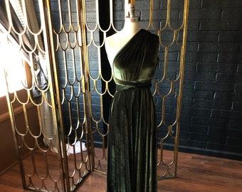 New Colors- Coralie Beatrix Vintage Olive Velvet Long Octopus Infinity Convertible Wrap Gown Dress~ Hunter, Burgundy, Blush, etc.