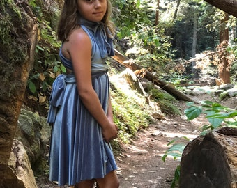 Ready Made- Dusty Blue Velvet Girl's Storybook Short Velvet Infinity Twirl Wrap Dress-  Narnia, Flower Girl