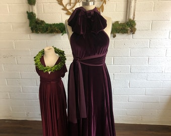 "Urchin Plum Velvet- Ready Made- Standard Size, 48"" Length- Long Octopus Infinity Convertible Wrap Gown Dress~"