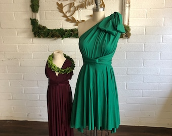 "Ready to Ship- Standard <33"" w, short High/Low cut-Emerald Cove Octopus Convertible Wrap Dress"