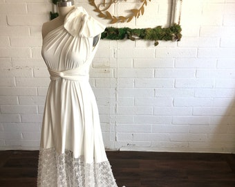 "Ready Made- Standard/Plus <36"" w, 44"" w/ Train-Heron off white w/ Bow Tulle- Bella Luna Infinity Wrap Dress"