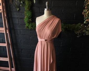 "Ready Made- 48"" L Cameo Dusty Peach TULIP HEM CUT Long Octopus Convertible Wrap Gown-  Maternity, Bridesmaids, etc."