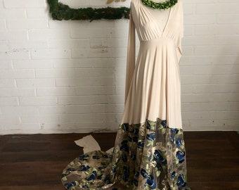 "Ready Made- Standard sz. 48"" w/ Train-Seven Seas Ivory w/ Sapphire Floral- Bella Luna Infinity Wrap Dress"