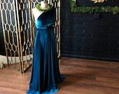 Jewel Toned Long Velvet Infinity Wrap Gown~ Gilded Gold, Teal, Grey, Burgundy, Dusty Lavender, etc. Bridesmaids, wedding guest, etc.