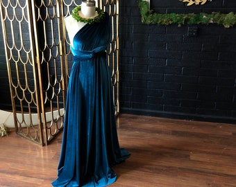 Jewel Toned Long Velvet Infinity Wrap Gown~ Gilded Gold, Teal, Grey, Burgundy, Dusty Lavender, etc. Bridesmaids, wedding guest, etc.