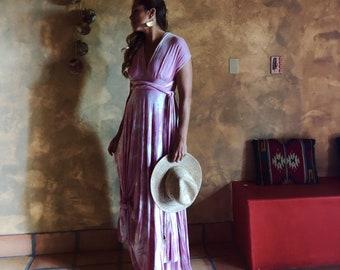 Coralie Beatrix Pink Tie Dye- Modal Jersey-  Print Maxi Octopus Infinity Wrap Dress!