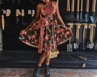 Girl's Short Circle Velvet Infinity Twirl Wrap Dress- Custom choose from 7 colors.  Shown in Forest Floral and Crushed Peony- Flower Girl