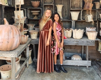 Girl's Velvet Long Infinity Wrap Dress-Shown in Derby Rust, Forest Floral- Custom choose your Fabric Color- Bridesmaid-Party-Flower Girl