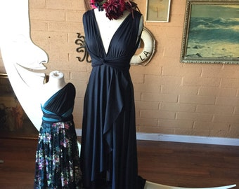 Black Lace TULIP CUT Lace and Satin Octopus Wrap Dress~ No Train ~Wedding Gown, Bridesmaids, Maternity, Etc.