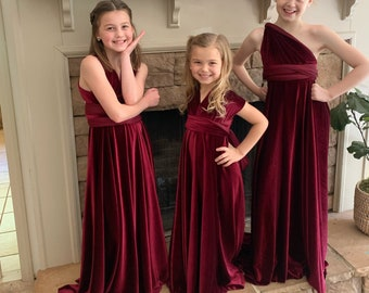 Girl's Long Velvet Convertible Wrap Dress- Custom Choose your Fabric Color- Junior Bridesmaid-Party- Flower Girl