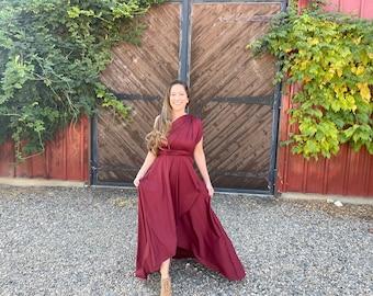 Currant Burgundy- Tulip Cut Infinity Wrap Dress. Choose from 55 Colors- Bohemian Bridal, Junior Bridesmaid, Plus Size