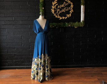 "Ready Made- Standard, 46"" Long- Floral Embroidered Bella Luna Infinity Wrap Dress- Tea and Sapphire with Gold Leaf w/ Bahia Tortuga Blue"