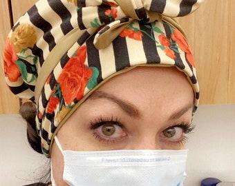Garden Party Floral, Stripe, Tye dye- Stretch Knit Reversible, One Size- Scrub Hat, Nurse, Surgical, Dental, Bouffant, Chemo hat, Chef- USA