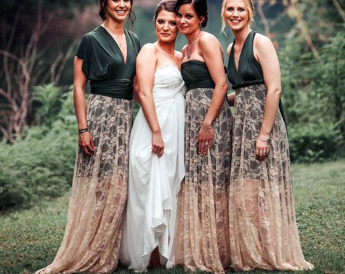 Featured listing image: Paris Flea Market Lace with short slip Octopus Infinity Wrap Dress~ Custom Combine Fabrics- Wedding Guest, Party Dress