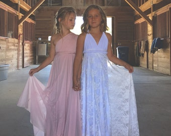 Girls Pink SwanTulle Chiffon Long Infinity Twirl Dress~Aline Maxi-Custom Choose any fabric! Seabird Nevada with Pink Chiffon