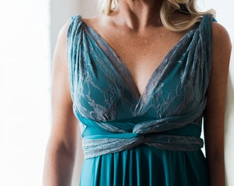 Tulipcut with Double Layer Straps. Gatsby Teal Green with Grey Lace. Custom choose Fabrics. Octopus Infinity Wrap Dress