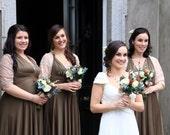 Bridal Coverup- Infinity Wrap Shawl-  worn as a Stole, Bolero- Lace, Chiffon, Mesh