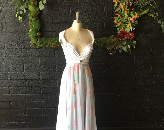 Print w/ Tulle Full Circle, Long Maxi Infinity Wrap Dress- Mint Rose Garden- Custom choose fabrics for Bridal, Bridesmaids, maternity