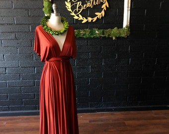 "Ready to Ship- Long 44"" Standard Size- Rusty Pelican- Silky Satin Jersey- Octopus Convertible Infinity Wrap Dress"