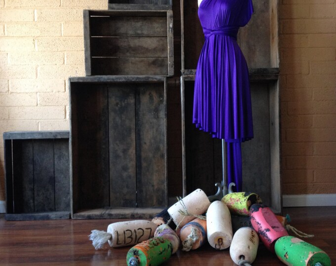 Ready to Ship- Standard High/ Low cut~ Stardust Royal Purple Satin Jersey - Octopus Convertible Wrap Short  Dress