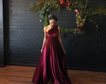 Coralie Beatrix Velvet Long Octopus Infinity Convertible Wrap Gown Dress~ Hunter, Burgundy, Blush, etc.