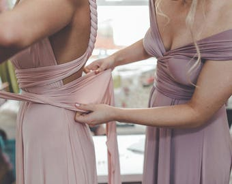 """Ready Made- 48""""L Standard- Southern Blush Long Octopus Convertible Wrap Gown- Mismatched Bridesmaids, Wedding,"""