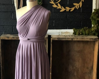 "Ready Made-Standard sz. Mini 22""- Lover's Dusty Lavender- Short Circle Skirt Infinity Wrap Dress- Party Dress, Wedding Guest"