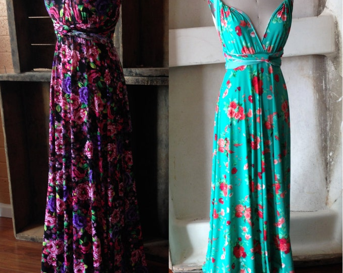Farmer's Market Floral Print Maxi Octopus Wrap Dress- Bridesmaids, Wedding Hydrangea Floral or Peach and Turquoise Floral, Maternity