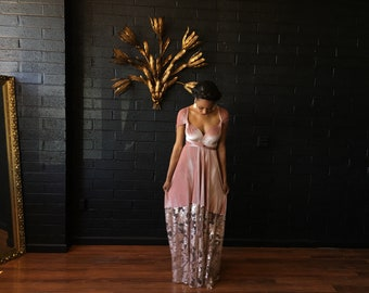 """Ready Made- Standard, 48"""" Length- Velvet and Sequins Bella Luna Octopus Infinity Wrap Dress- Muted Mauve w/ Champagne Floral"""