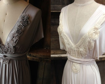 Strap Applique Detailing for the Infinity Wrap Dress~ Grey Rosettes, Ivory French Couture Pintuck, Lilac Floral