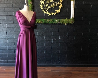 "Ready Made- 50"" L Standard- Sea Gypsy Berry Infinity Octopus Wrap Gown~ Bridesmaids, Wedding, Special Occasion, Prom"
