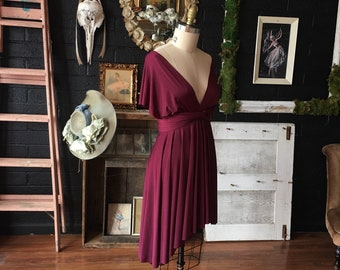 Big Sur Burgundy Short or High/Low  Octopus Infinity Convertible Wrap Dress~ Bridesmaids, Wedding, Bohemian