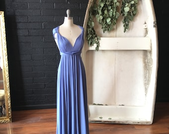 """Ready Made- Standard 49"""" Long- English Channel Slate Blue- Coralie Beatrix Long Octopus Infinity Convertible Wrap Gown Dress"""