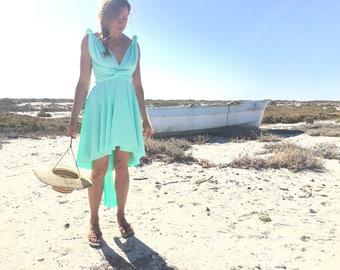 Maldives Mint- Infinity Convertible Wrap Short Dress with full circle skirt- Bridesmaids, plus size, maternity,